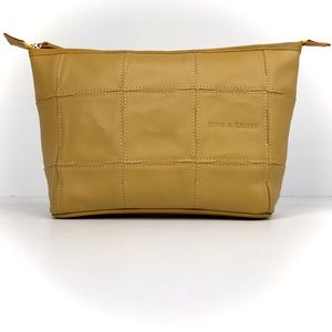 Elvis & Kresse Yellow Burberry Leather Makeup Bag